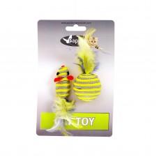 """Papillon игрушка для кошек """"Мышка и мячик с перьями"""" 5+4см"""