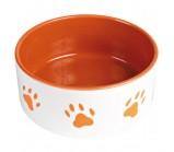 "Trixie Миска для собаки с рисунком ""Лапка"", 0,3 л / ф 12 см, керамика, оранж./белый (24401)"