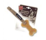 GIGWI GUM GUM DOG игрушка для собак кость из нетоксичного каучука и льняного ремешка 10 см
