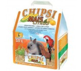 CHIPSI MAIS CITRUS Наполнитель Кукурузный с ароматом лимона для грызунов  и птиц 10 л/4,6 кг